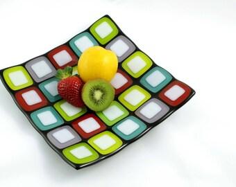 Glass Mosaic Plate (Multi-Coloured)