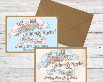 Save the Date cards | Hand finished | Personalised | Vintage Floral and Polka Dot Styles | With Envelopes
