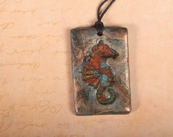 Polymer clay and copper seahorse pendant