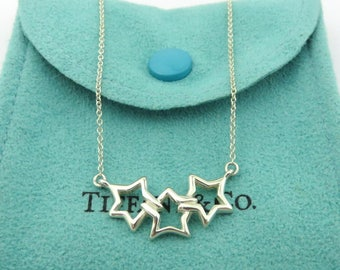 Authentic TIFFANY & CO Sterling Silver Triple Star Pendant Necklace