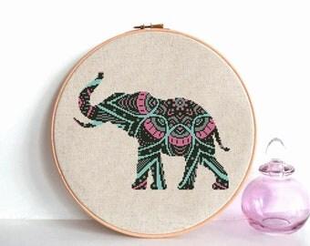 Mandala Elephant cross stitch pattern pdf Modern cross stitch beginner cross stitch animals Counted cross stitch easy Baby cross stitch DIY