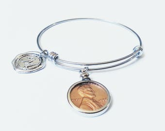 80th Birthday Gift 1937 US Penny Bracelet Mom Expandable Bangle initial charm 50th Coin Jewelry