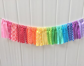Rainbow fabric banner, Rainbow Garland, Birthday banner, high chair banner, fabric banner, scrappy banner, rainbow banner, fabric garland
