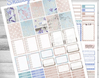 Printable planner stickers, Summer stickers, use with Erin Condren, Weekly kit, Wedding, planner, Shabby Chic stickers, glam, blue, rustic