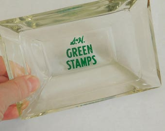 Vintage S & H Green Stamps Ashtray, Glass Ashtray, 4 Cigarette Rests, Sperry Hutchinson, Collectible Advertising Ashtray, Supermarket. Gas