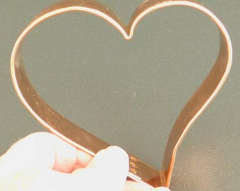 Vintage Heart Shaped Cookie Cutter, Large Copper Heart, Wedding Party Favor, Ornament, Bridal Shower, Valentine's Day, Year Round Cutter