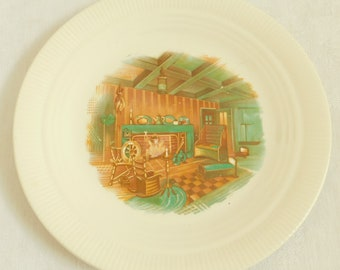Vintage Colonial Fireside Dinner Plate, Salem China, Fluted, Fireplace Scene, Rustic, Cabin, Primitive, Wall Hanging, Santa's Cookie Plate