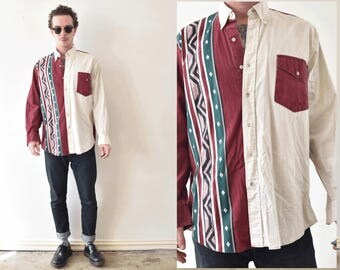 Colour Block Aztec Mens Vintage Button Up Shirt