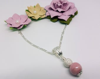 Dusky pink porcelain and silver sparkle pendant and Sterling silver box chain