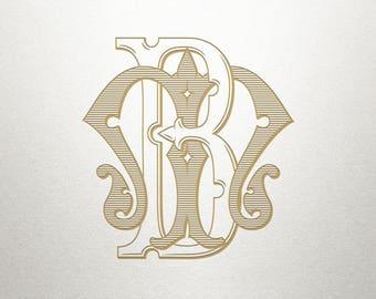Wedding Monogram Design - BM MB - Wedding Monogram - Vintage