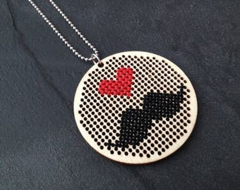 Necklace I love moustache - wood and cross stitch