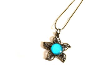Turquoise blue flower necklace - Bronze ball chain