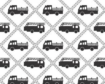 Sale Black and White Fire Engine Cotton Fabric from the Firehouse Friends Collection be Benartex, Dalmatians, Firehouse Dog, Fireman