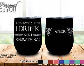 Games of thrones,12oz wine Tumbler, Laser Engraved