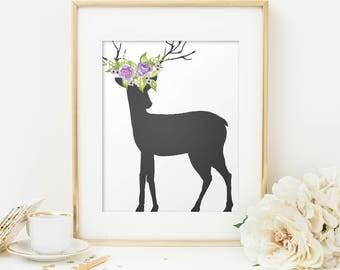 Deer silhouette printable poster,  Deer printable, Deer wall art, Digital download, Antler print decor, Wall art decor, Cabin decor