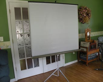 Projector screen, movie screen, slide projector, Sears and Robuck.50x50 ,tri pod screen