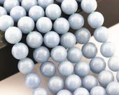 Natural Angelite Gemstone Smooth Round Loose Beads Size 4mm/6mm/8mm/10m/12mm 15.5 Inches per Strand.GEM-171120-15