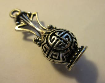 "Antique Silver Plated Metal ""Genie in a Bottle"" Pendant with Chinese Shou Motif, 1 3/4"""