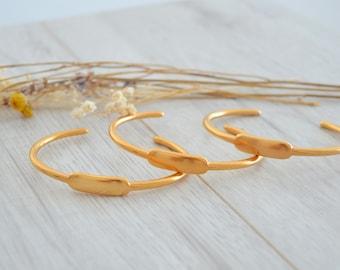Matte Gold Identity bracelet bangle, Matte Gold bangle with tag, Gold cuff stacking bracelet, Minimalist Arm Cuff Bangle, Gold Id Jewellery