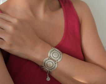 Bohemian Round Shaped Silver Link bracelet, Silver Chain bracelet, Bohemian Ethnic Tribal bracelets, Silver Turkish Bracelets Jewellery