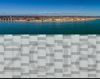 2018 calendar/wall planner showing Aerial photograph of Bexhill - England & Wales national/bank holidays - A3 size