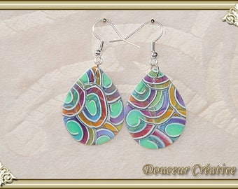Earrings multicolor translucent spiral drop 104063