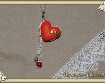 Red heart macaroon 103005 necklace
