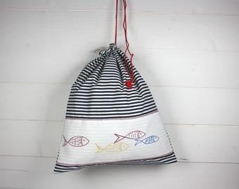 Embroidered marine spirit fish blue white striped cotton laundry bag