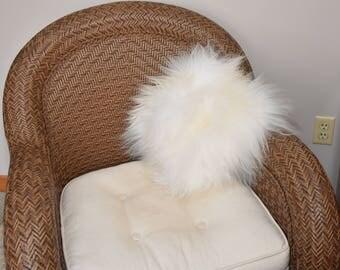"Genuine icelandic sheepskin Pillow Alpca filled.12""x12""Fur side20'x20""White PW 20"
