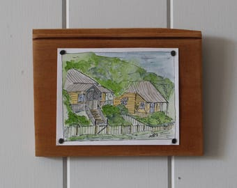 Original Watercolour + Ink Painting - Yellow Cottages