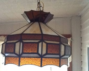 Vintage Mid Century Stained Glass Hanging Lamp with Amber and Milky Stain Glass Pieces Tiffany style haning light