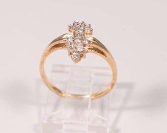 10K Yellow Gold Ladys Small Diamond Cluster Diamond Ring, 1/2ct TW, size 6.75
