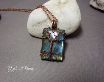 Necklace, pendant Yggdrasil / tree of life in antiqued copper wire and labradorite