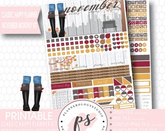 Fall in the Park November 2017 Monthly View Kit Printable Planner Stickers (for Mambi Classic Happy Planner) | JPG/PDF/Silhouette Cut File