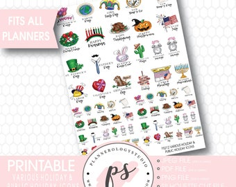 Various Holiday & Public Holiday Icons Printable Planner Stickers | JPG/PDF/Silhouette Compatible Cut Files