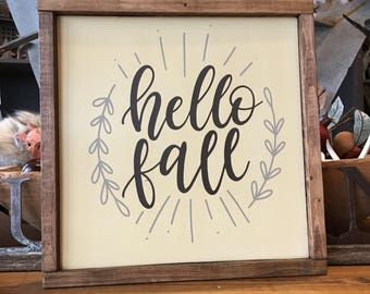 Hello Fall Wood Sign 12x12 - Farmhouse - Framed sign - Gallery Wall - Fall - Autumn