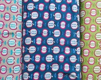 Apple by Lots organic cotton jersey in blue, green and grey, one unit is 0.5 metre