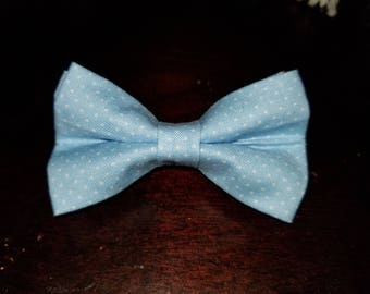 Blue and White Polka Dot Hair Bowtie