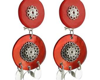 Milan orange clip earrings
