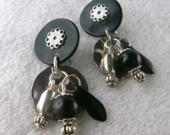 Clip earring black Dinard (made in France)