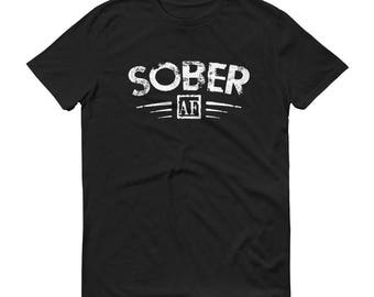 Men's Funny Sober AF T-shirt Support Sobriety Cause Gift