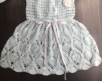 Goreous light blue crochet dress