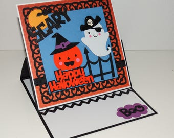 Happy Halloween, ghost & pumpkin, handmade greeting card