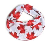 Canada Day, Baby Scarf Bib, Maple Leaf Bib, Baby Shower Gift, Baby Boy, Drool Scarf Bib, Baby Boy Gift, Gender Neutral, Canadian Bib