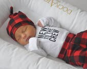 Buffalo Plaid Newborn Outfit, Coming Home Set, Baby Clothes, Baby Boy Gift, Infant Leggings, Newborn Pants, Hospital Outfit, Gender Neutral