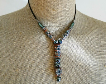 Bohemian girlfriend necklace wife pendant long clay necklace terracotta clay silver glased beads ooak handmade
