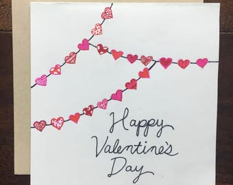 Hand Drawn Hearts Valentine's Day Card