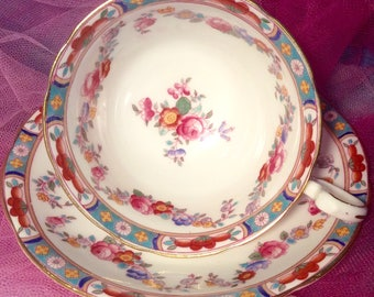 Pretty In Pink-Aynsley Hand Painted Teacup and Saucer