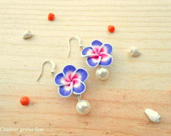 Tiare flower and Pearl, gift earrings celebrates the big day, Easter