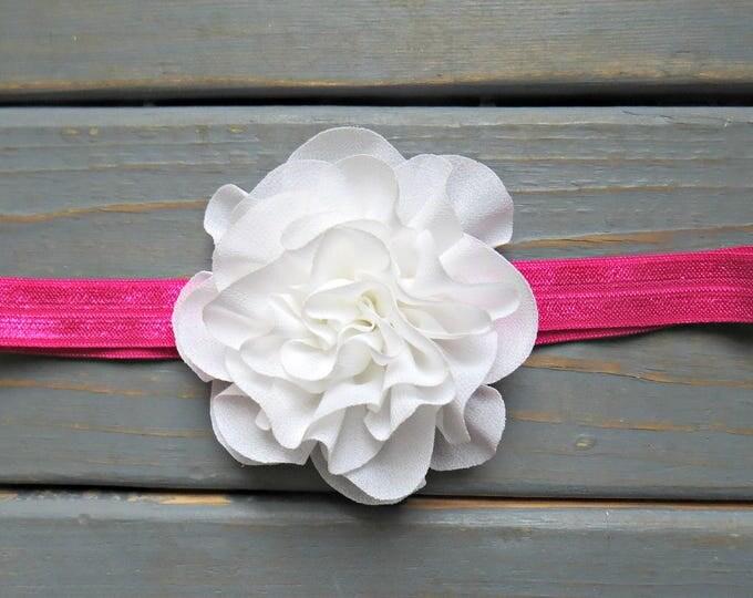 Pink Headband, White Headband, Flower Headband, Baby Bows, Baby Headband, Flower Girl Headband